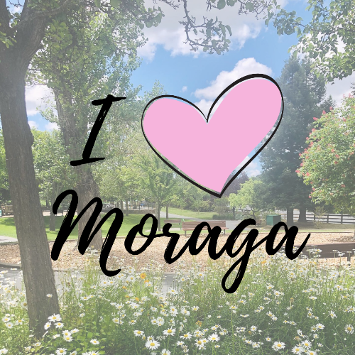 Spring at Moraga Commons park with text overlay I (heart) Moraga