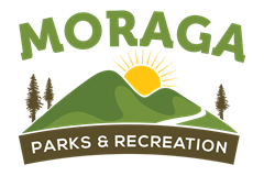 Moraga Parks & Recreation Logo 2 hills with trees and the sun rising between the hills.