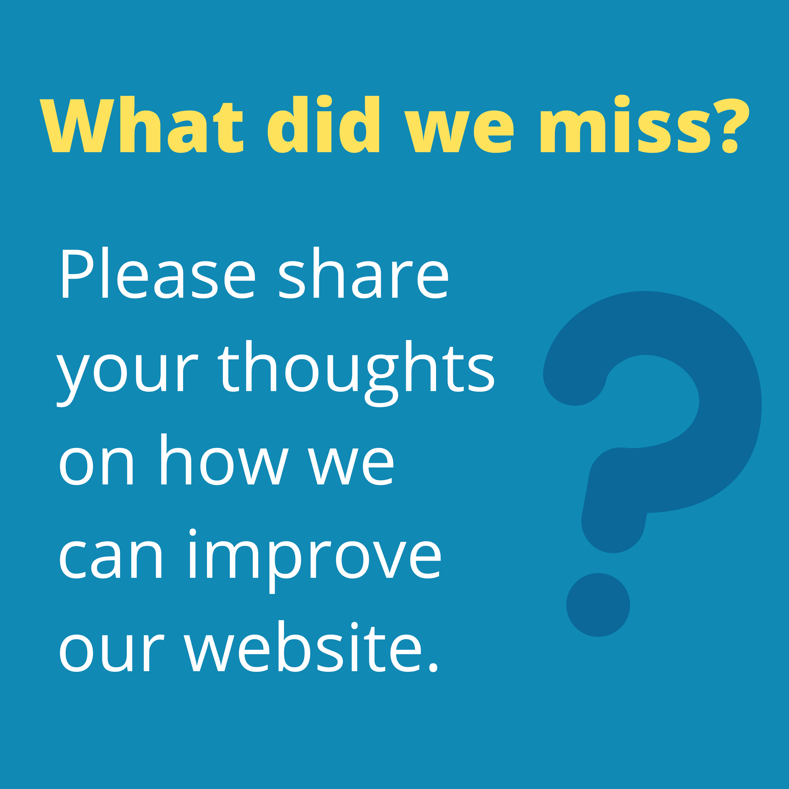 What did we miss? Please give us feedback on our website.